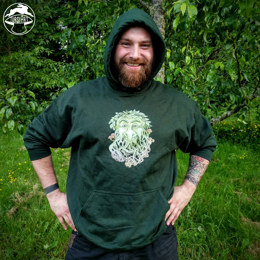 Greenman on Forest Green Hoodie Unisex Hooded Sweatshirt