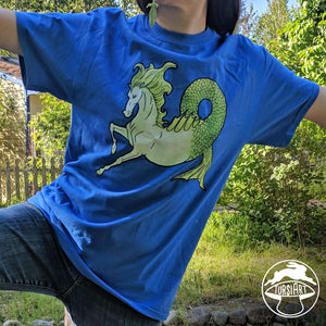 Hippocamp Kelpie Water Horse on Black or Blue Unisex Cotton Tee