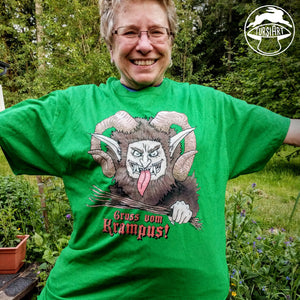 Gruss vom Krampus Unisex Cotton Tee - Green Christmas T-Shirt