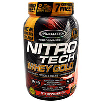 Muscletech Performance Series Nitro Tech 100% Whey Gold - Strawberry - 2.5 lb - 631656710465
