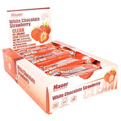 Mauer Sports Nutrition Classic Protein Bar - White Chocolate Strawberry - 12 Bars - 852815006087