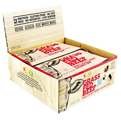DNX Bars Grass Fed Beef Bar - Dark Cacao Cherry Coconut - 12 Bars - 685239665161