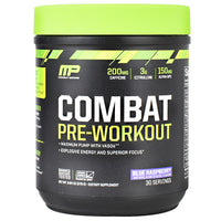 MusclePharm Combat Series Combat Pre-Workout - Blue Raspberry - 30 Servings - 851387008734