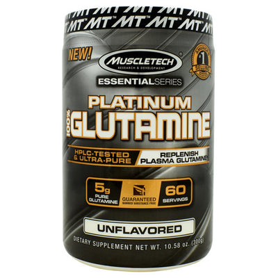 Muscletech Essential Series 100% Platinum Glutamine - Unflavored - 60 Servings - 631656705706