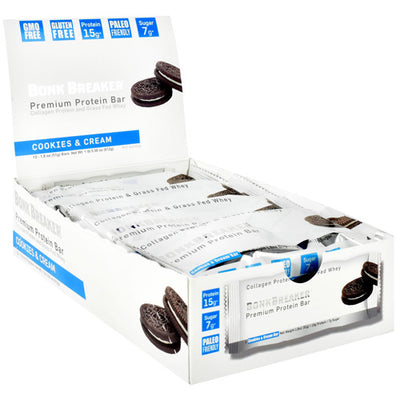 Bonk Breaker Premium Protein Bar - Cookies and Cream - 12 Bars - 040232669576