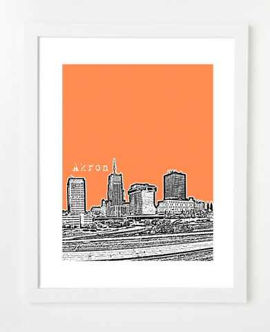 Akron Ohio Skyline Art Print and Poster