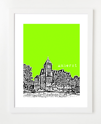 Amherst Massachusetts USA Skyline Art Print and Poster | By BirdAve Posters