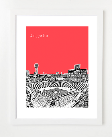 Los Angeles Angels of Anaheim Angels Stadium Skyline Art Print and Poster | By BirdAve Posters