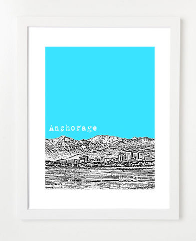Anchorage Alaska USA Skyline Art Print and Poster | By BirdAve Posters