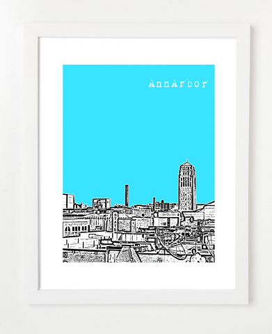 Ann Arbor Michigan USA Skyline Art Print and Poster | By BirdAve Posters