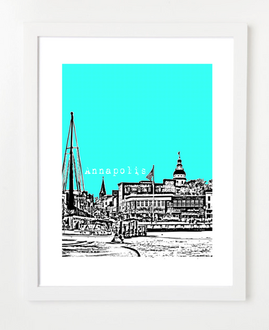 Annapolis Maryland USA Skyline Art Print and Poster | By BirdAve Posters