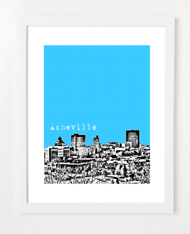 Asheville North Carolina Skyline Art Print and Poster | By BirdAve Posters