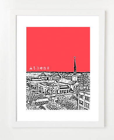 Athens Georgia USA Skyline Art Print and Poster | By BirdAve Posters