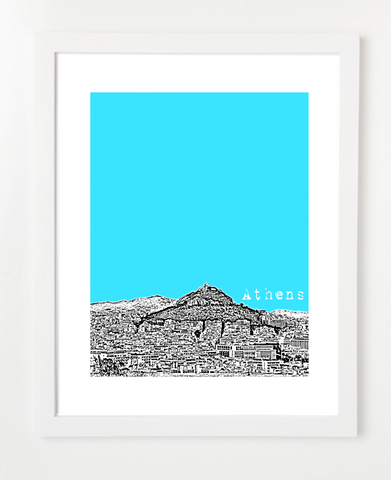 Athens Greece Europe Version 2 Skyline Art Print and Poster | By BirdAve Posters