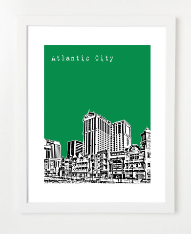 Atlantic City New Jersey Skyline Art Print and Poster | By BirdAve Posters