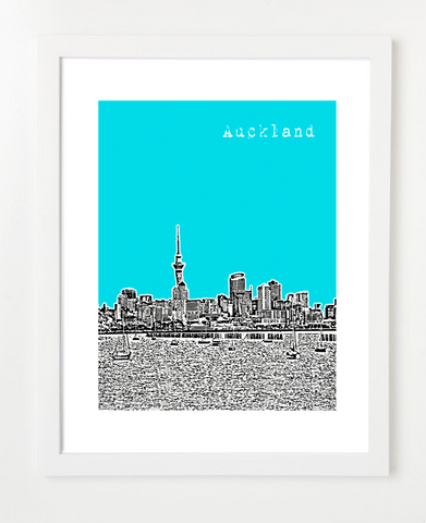 Auckland New Zealand Skyline Art Print and Poster | By BirdAve Posters
