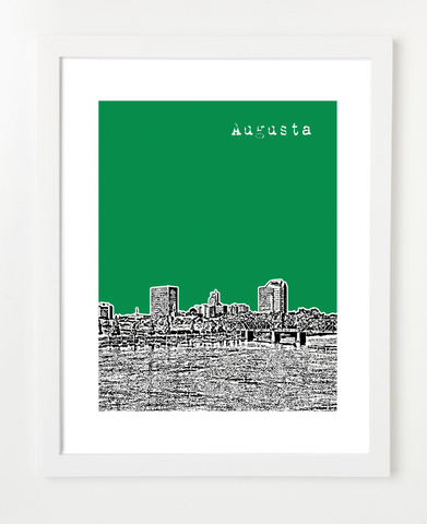 Augusta Georgia USA Skyline Art Print and Poster | By BirdAve Posters
