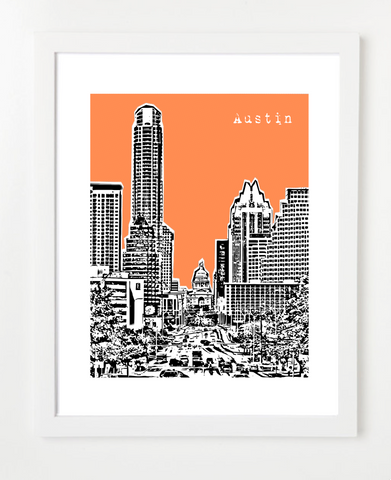 Austin Texas Capitol Building Skyline Art Print and Poster | By BirdAve Posters