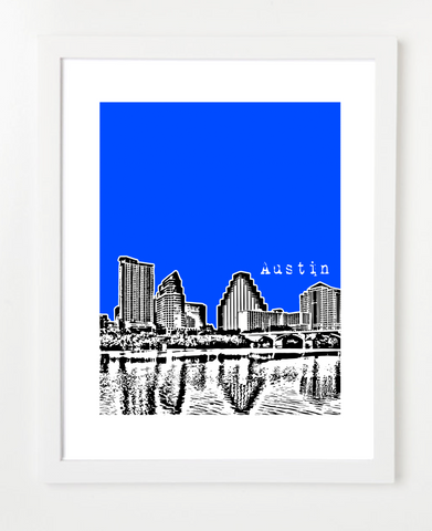 Austin Texas Lady Bird Lake Skyline Art Print and Poster | By BirdAve Posters