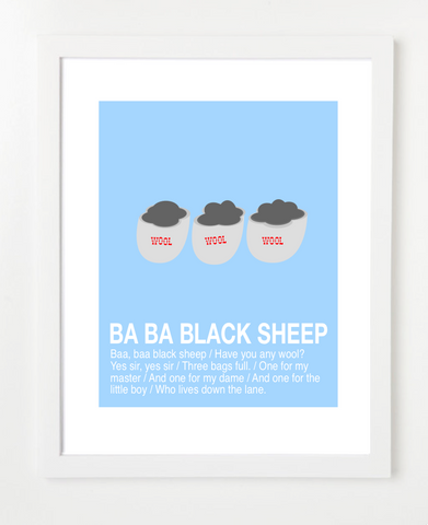 Children's Art Print - Ba Ba Black Sheep Nursery Rhyme Poster