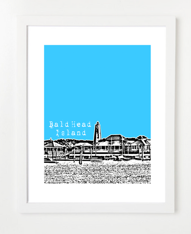 Bald Head Island North Carolina USA Skyline Art Print and Poster | By BirdAve Posters