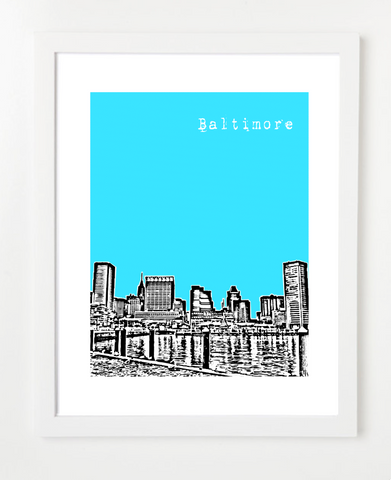 Baltimore Maryland USA Skyline Art Print and Poster | By BirdAve Posters
