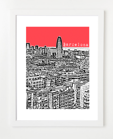 Barcelona Spain Skyline Art Print and Poster | By BirdAve Posters