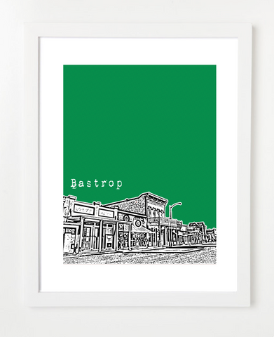 Bastrop Texas Skyline Art Print and Poster | By BirdAve Posters