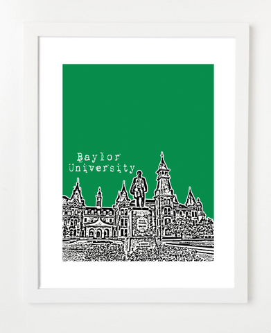 Waco Texas Baylor University Skyline Art Print and Poster | By BirdAve Posters