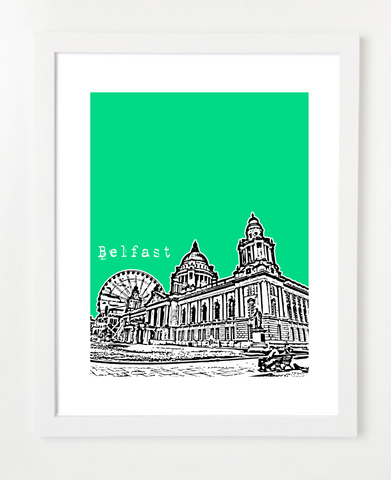 Belfast Ireland Europe Posters and Skyline Art Prints | By BirdAve
