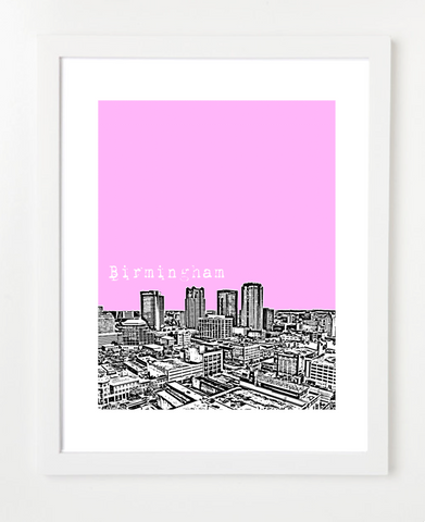 Birmingham Alabama USA Skyline Art Print and Posters
