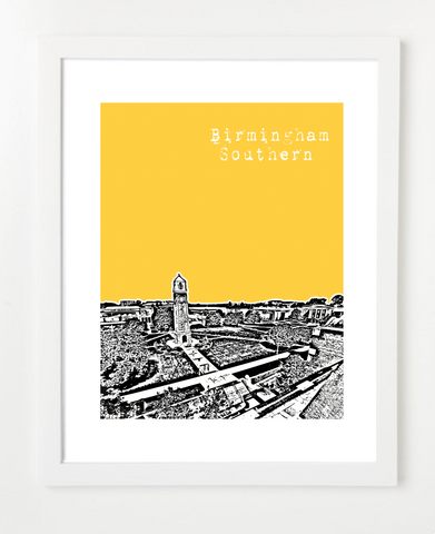 Birmingham Southern College Alabama Posters and Skyline Art Prints | By BirdAve