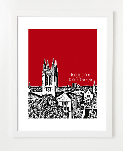 Boston College Gasson Hall Skyline Art Print and Poster | By BirdAve Posters