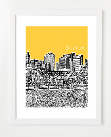 Boston Poster Lewis Wharf North End Skyline Art Print and Poster | By BirdAve Posters