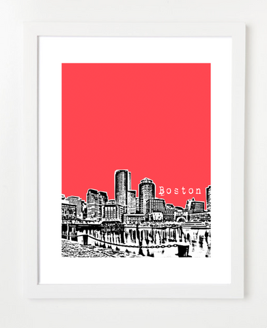 Boston Massachusetts USA Skyline Art Print and Poster | By BirdAve Posters