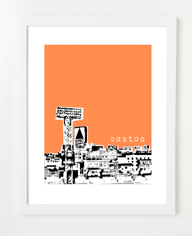 Boston Massachusetts Fenway Citgo Skyline Art Print and Poster | By BirdAve Posters