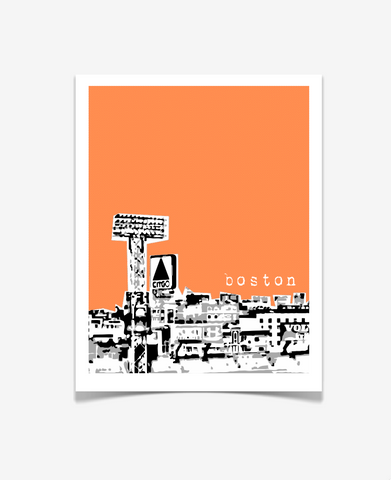Boston Massachusetts Poster - Fenway Citgo View - VERSION 2