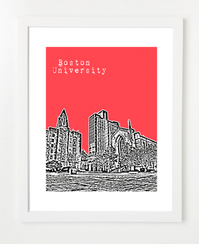 Boston University Marsh Plaza Skyline Art Print and Poster | By BirdAve Posters