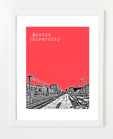 Boston University Skyline Art Print and Poster | By BirdAve Posters