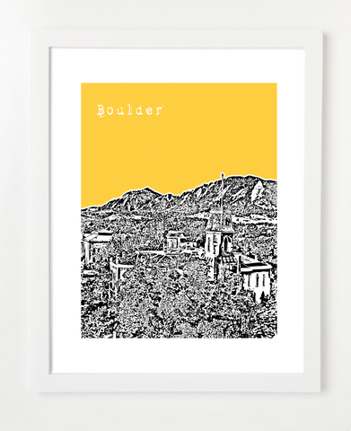 Boulder Colorado University of Colorado Boulder Skyline Art Print and Poster | By BirdAve Posters