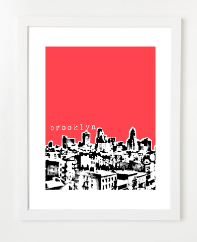 Brooklyn New York USA Skyline Art Print and Poster | By BirdAve Posters