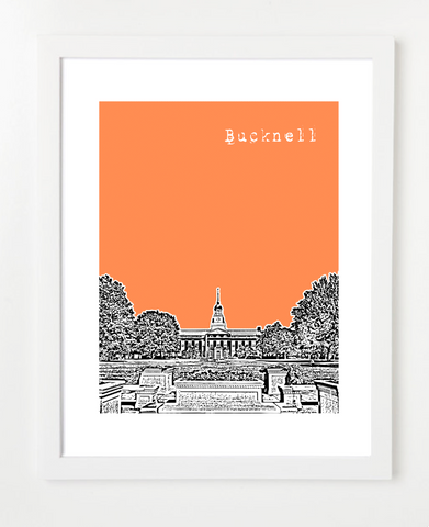 Lewisburg Pennsylvania Bucknell University Skyline Art Print and Poster | By BirdAve Posters