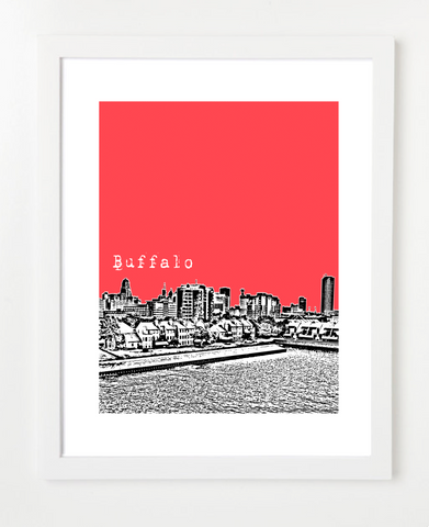 Buffalo New York USA Skyline Art Print and Poster | By BirdAve Posters