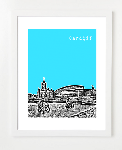 Cardiff Wales Europe Posters and Skyline Art Prints | By BirdAve