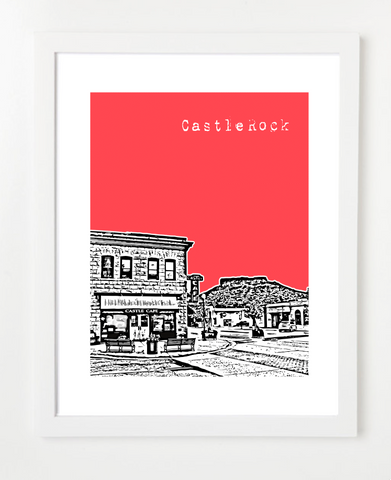 Castle Rock Colorado USA Skyline Art Print and Poster | By BirdAve Posters