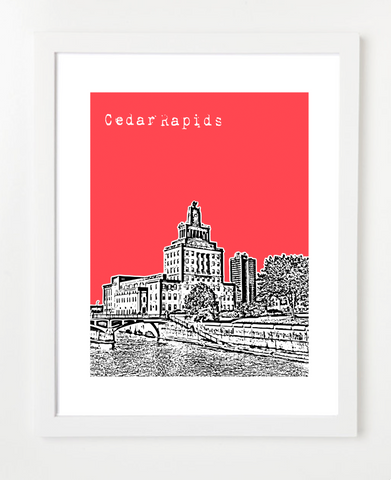 Cedar Rapids Iowa Skyline Art Print and Poster | By BirdAve Posters