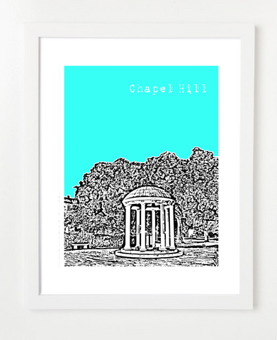 Chapel Hill UNC Chapel Hill VERSION 2 Skyline Art Print and Poster | By BirdAve Posters