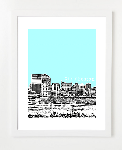 Charleston West Virginia Kanawha River Skyline Art Print and Poster | By BirdAve Posters