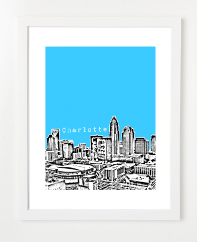 Charlotte North Carolina Skyline Art Print and Poster | By BirdAve Posters