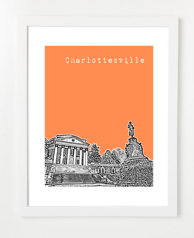 Charlottesville Virginia Skyline Art Print and Poster | By BirdAve Posters